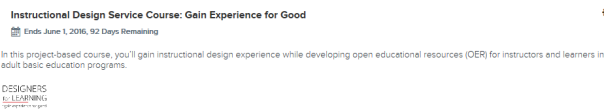 screen grab of the summary of the ID course in Canvas